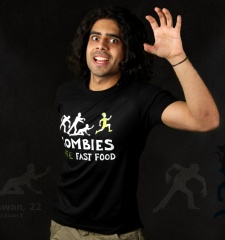 Herren T-Shirt Zombies Hate Fast Food