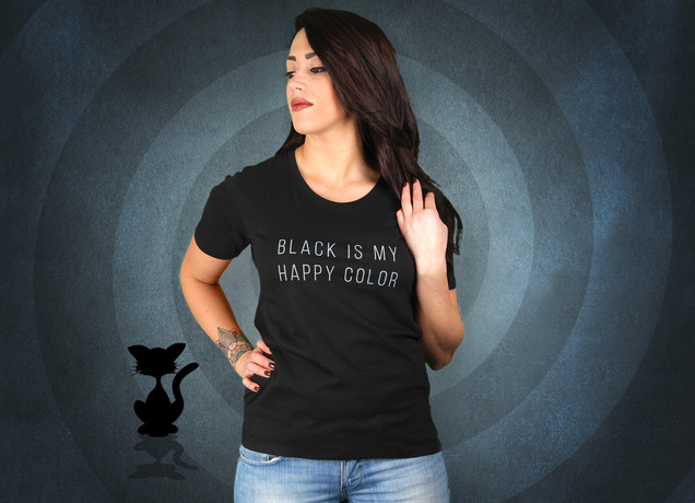 Damen T-Shirt Black Is My Happy Color