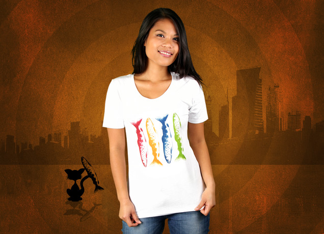 Damen T-Shirt Colorfull Fishing