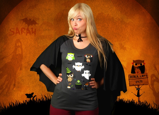 Damen T-Shirt Halloween Owls