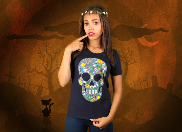 Damen T-Shirt Halloween Scull