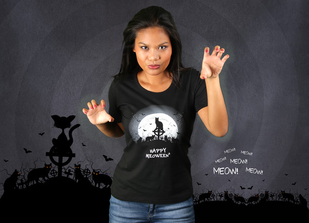 Damen T-Shirt Happy Meoween'