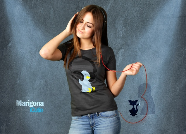 Damen T-Shirt Headphone Tweety