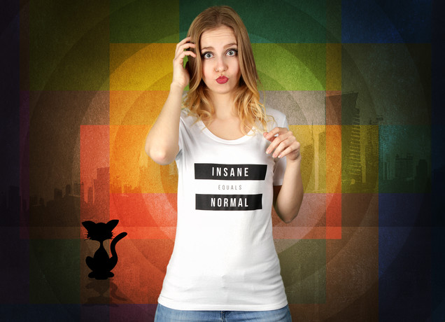 Damen T-Shirt Insane Equals Normal