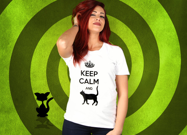 Damen T-Shirt Keep Calm And Cat Arround