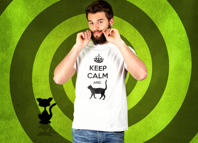 Herren T-Shirt Keep Calm And Cat Arround