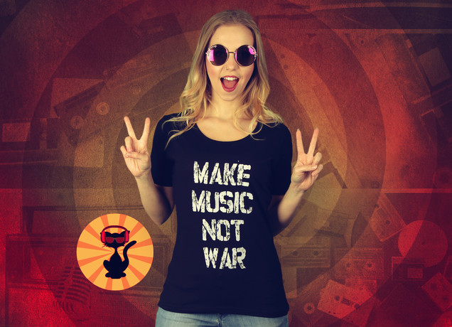 Damen T-Shirt Make Music Not War