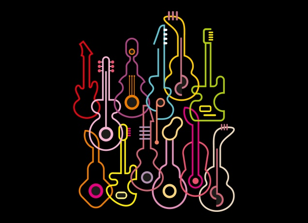 Design Neon T-Shirt Guitars