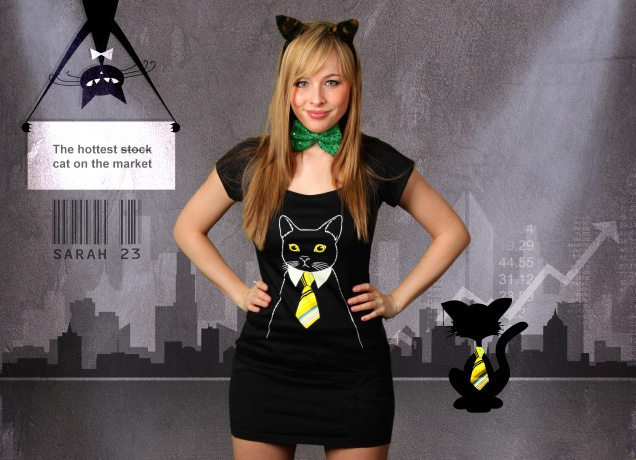 Damen T-Shirt The Business Cat
