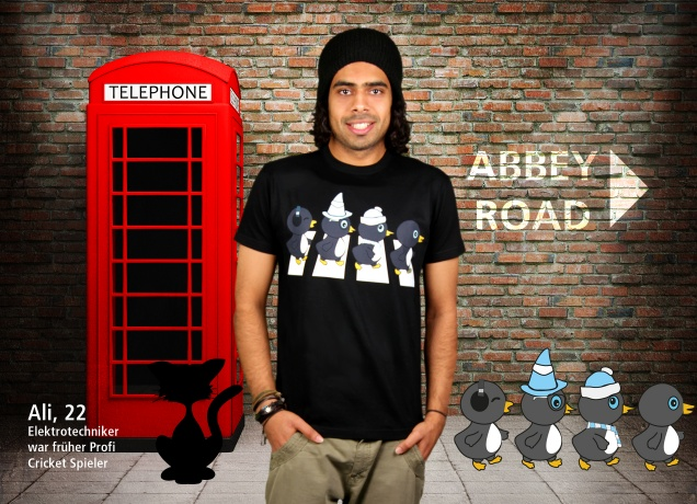 Herren T-Shirt The Penguine Abbey Road