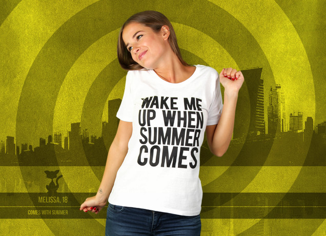 Damen T-Shirt Wake Me Up When Summer Comes